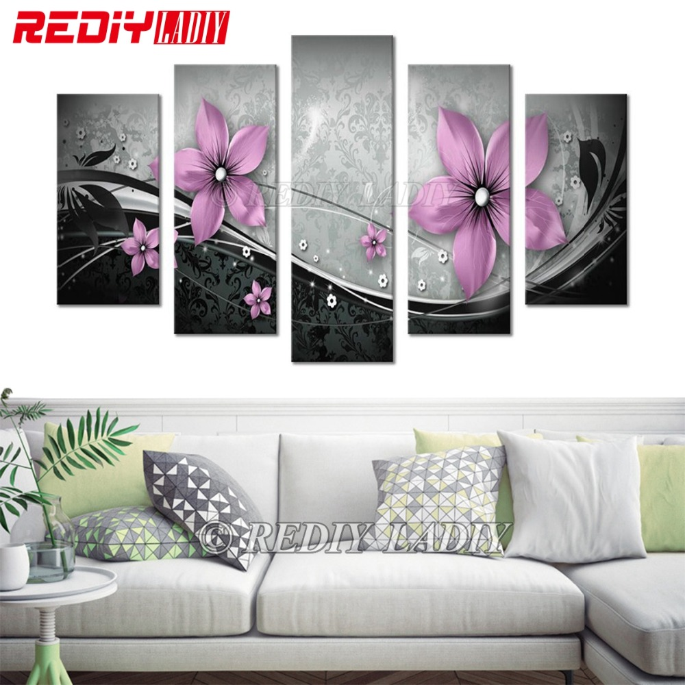 REDIY LADIY Diamond Painting Triptych Square Diamond Embroidery Crystal Mosaic Modular Picture Pink Flowers Home Decor