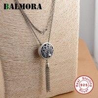 Balmora 100% gerçek 925 ayar gümüş takı retro peacock kolye kolye kadınlar için 75 cm uzun gümüş zincir yaka jlcn80730