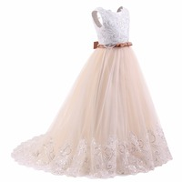 A Line Lace Flower Girl Dresses For Weddings 2018 Champagne Kids Evening Dress Holy Communion Dresses