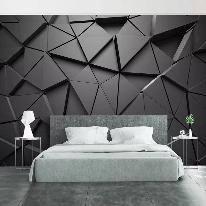 Modern Abstract Art Wallpaper 3D Stereo Black Geometric Pattern Photo Wall Murals Living Room Bedroom Background Wall PaintingsModern Abstract Art Wallpaper 3D Stereo Black Geometric Pattern Photo Wall Murals Living Room Bedroom Background Wall Paintings