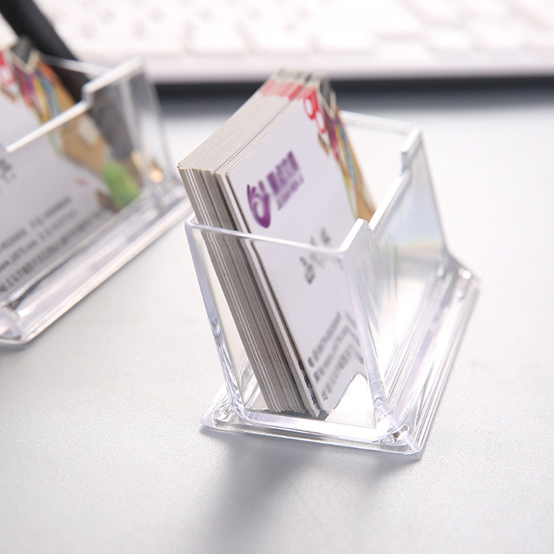 Genteel Transparent Acrylic Desk Shelf Business Card Holder Cute Display Stand Card Storage Id Card Organizer Korea Office Desk Supplies New Varieties Are Introduced One After Another Desk Accessories & Organizer Office & School Supplies