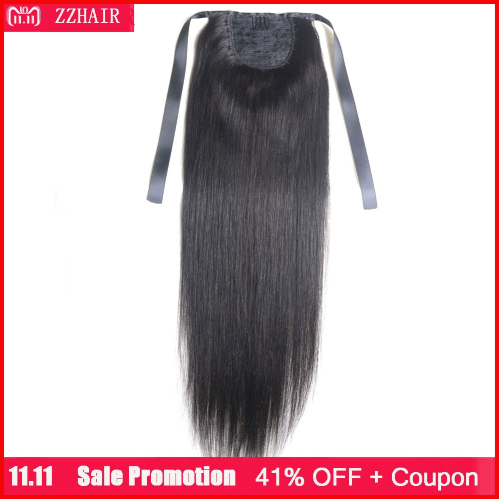 Ponytails Ali Beauty 60g Thick Human Hair Ponytail Wrap Around Horsetail Clips-in Straight Machine Made Remy Hair Strong Resistance To Heat And Hard Wearing