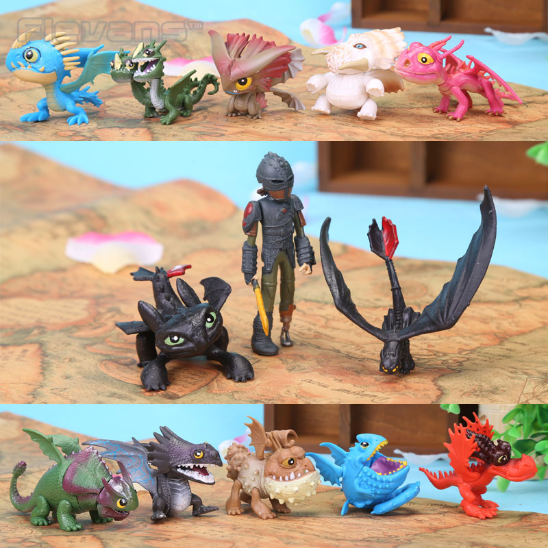 Anime Cartoon How to Train Your Dragon 2 Toothless PVC Action Figures Toys for Children 13pcs/set DSFG212