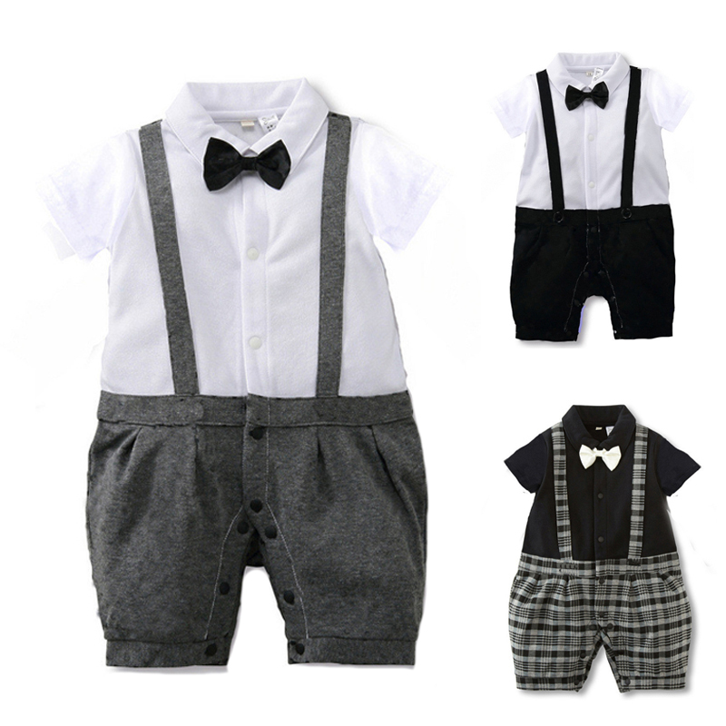 New Born Baby Clothes Gentleman Style Summer Baby Boys Rompers Baby Girls Clothing Set Baby Body Suits Infant Jumpsuit  Costume jingle mallet new born rompers clothing handsome bowtie baby costumes infant boys one piece