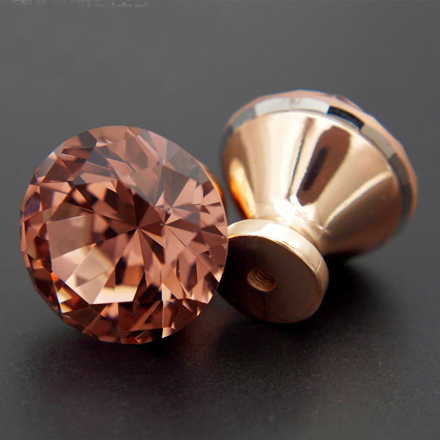 10Pcs Unique Swiss Red Color Diamond Pull Handle Rose Gold Base K9