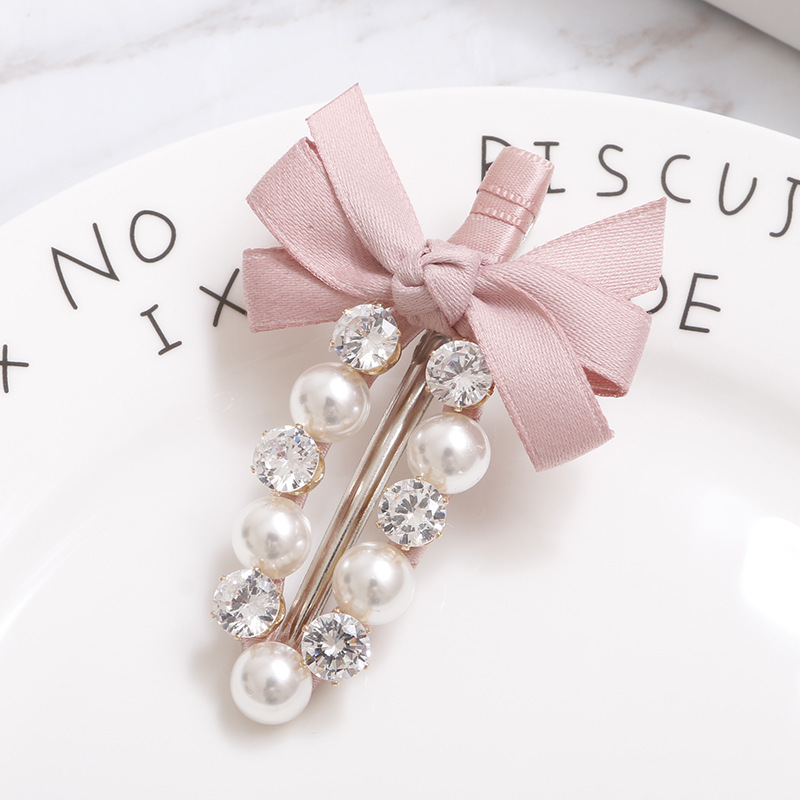 Fashion Handmade Ribbon Bowknot Rhinestone Pearl Hair Clips Girls Women Lady Metal Crystal Hairpins Hair Accessories Barrette