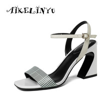 AIKELINYU 2019 Women Summer Sandals Super High Square Heels Mixed Colors Pumps Plaid Genuine Leather Buckle Strap Sandals Lady цена 2017