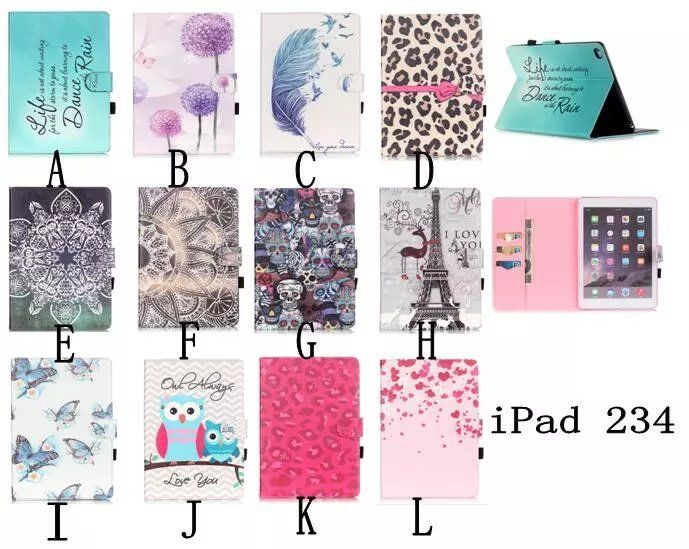 For Apple iPad 4 iPad 3 iPad 2 Owl butterfly Paint Flip PU Leather Stand Case Cover For Ipad 4 3 2 cases with Smart Stand Holder