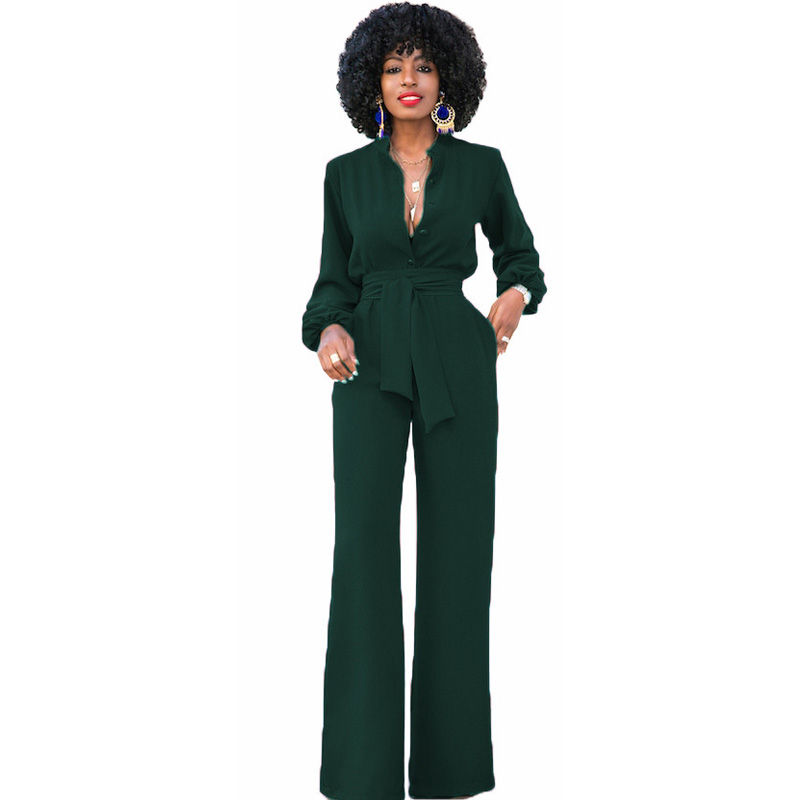 Plus size long pant women jumpsuit romper fashion green long sleeve sexy v neck Female dungarees Party bandage wide leg macacao