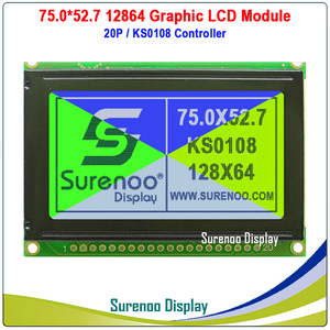 75.0X52.7MM 12864 128*64 Graphic Matrix LCD Module Display Screen LCM build-in KS0108 Controller 4 Colors for Selection