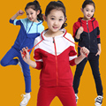 Free Shipping New Style Multicolor Sport Cotton Coat With Hat Spring Autumn Big Girls Clothing Sets Sportswear High Quality