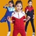 Frete Grátis New Style Multicolor Esporte Casaco De Algodão Com Chapéu Primavera Outono Meninas Grandes Conjuntos de Roupas Sportswear Alta Qualidade
