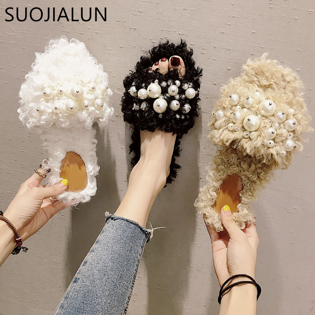 SUOJIALUN Fashion Women Slippers Lady Shoes Home Female Sandal Woman Shoes Fur String Bead Flip Flops Summer Flat Slides