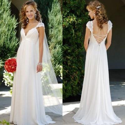 New Fashionable Beach Wedding Dresses With Chiffon Lace Backless V Neckline Romantic Vestido Floor Length Robe