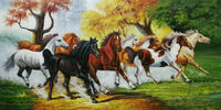 HandPainted High Quality Animal Oil Canvas Painting Realist eight horses Oil Painting Wall Art Painting Picture for Living Room