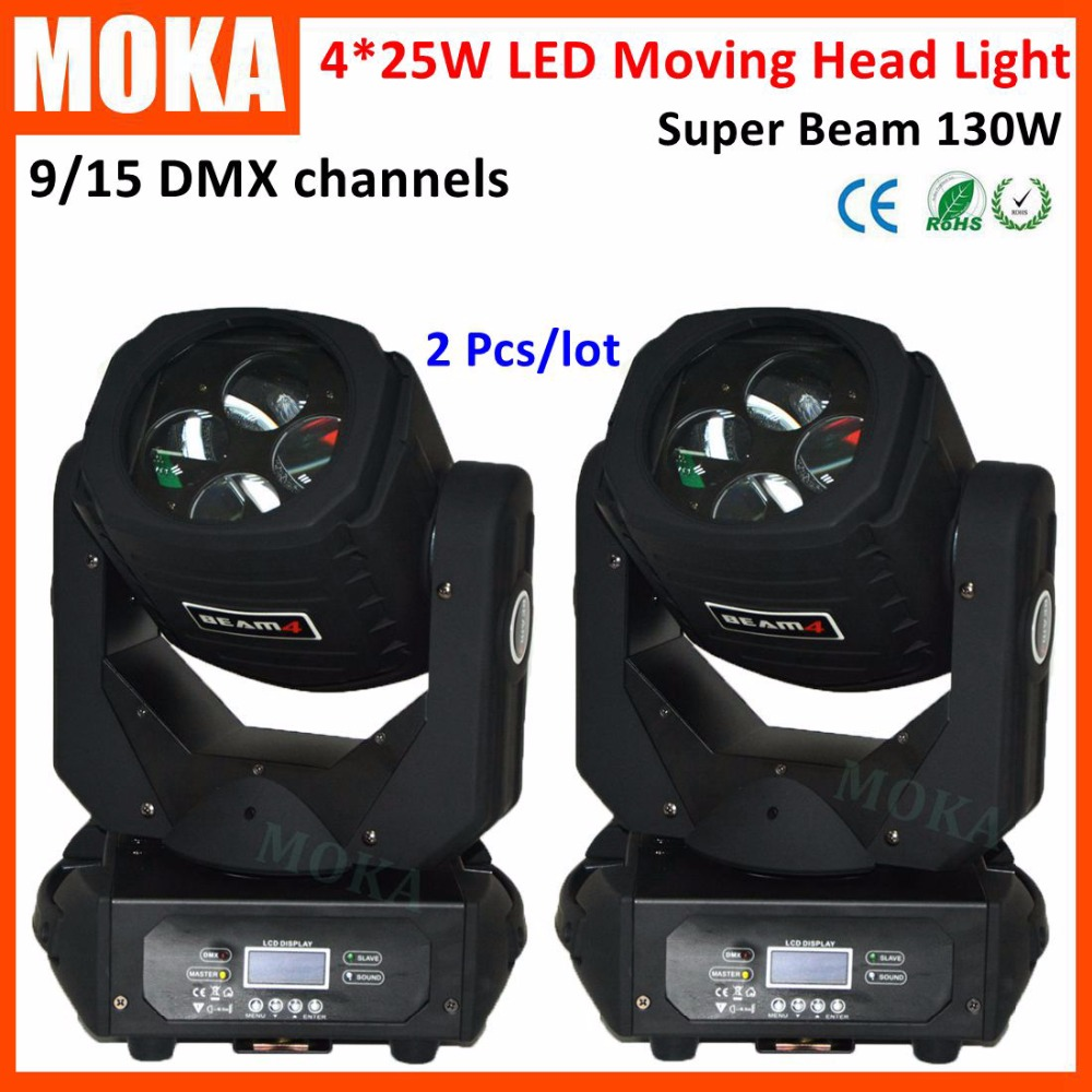 2 Pcs/lot Sound DMX 130W LED New Mini Moving Head Beam Light 4*25W Stage Light for Wedding Event Star Concert