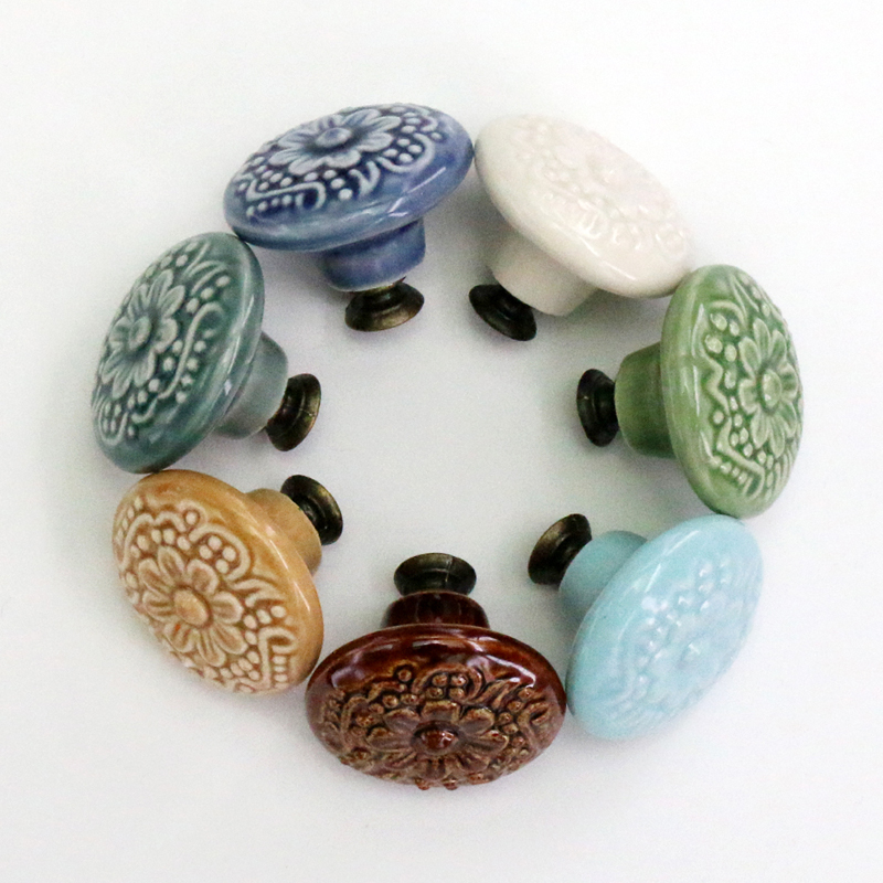Ceramic Kitchen Cabinet Handles Drawer Pull Knobs Antique: 1PCS 44mm Flower Engraved Ceramic Cabinet Knob Cupboard