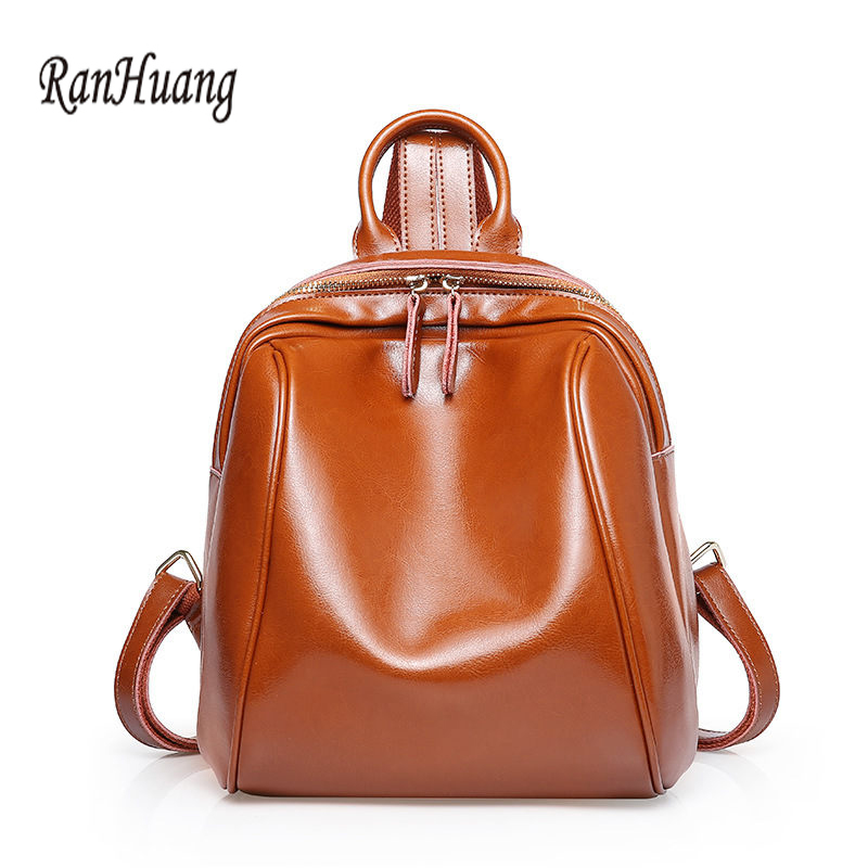 RanHuang Top Quality Women Genuine Leather Backpack New 2017 Women's Fashion Backpack Preppy Style Travel Bags For Teenage Girls