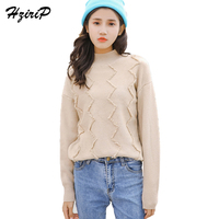 HziriP Winter Spring Women Turtleneck Knitted Fashion Sweater Long Sleeve Pullover Sweaters Dresss Korean Fashion Clothes