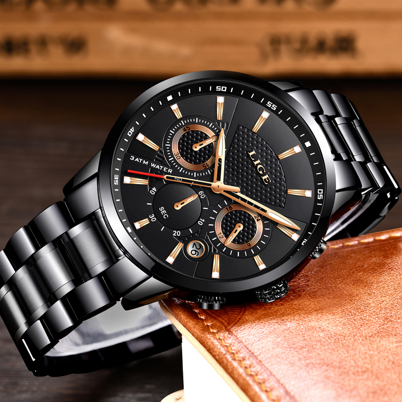 2018 LIGE Mens Watches Top Luxury Brand Business Quartz Watch Men Military Sports Waterproof Dress Wristwatch Relogio Masculino in Quartz Watches from Watches
