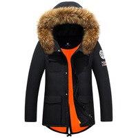 2017 neue Marke herren Winter Daunenjacke Beliebte Amerika und European Style Thick Casual Natürliche Fell Kapuze Warmen Wintermantel T631