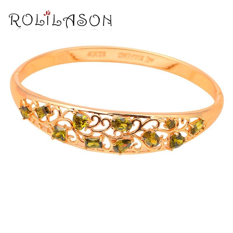 Beautiful Bangles for women Delicate Peridot K k yellow Gold color Green Crystal fashion jewelry TB604 Free shipping