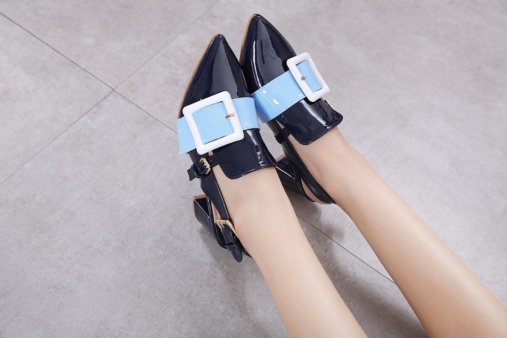 Women Square Mid Heel Streetwear Shoes Faux Leather Sandals