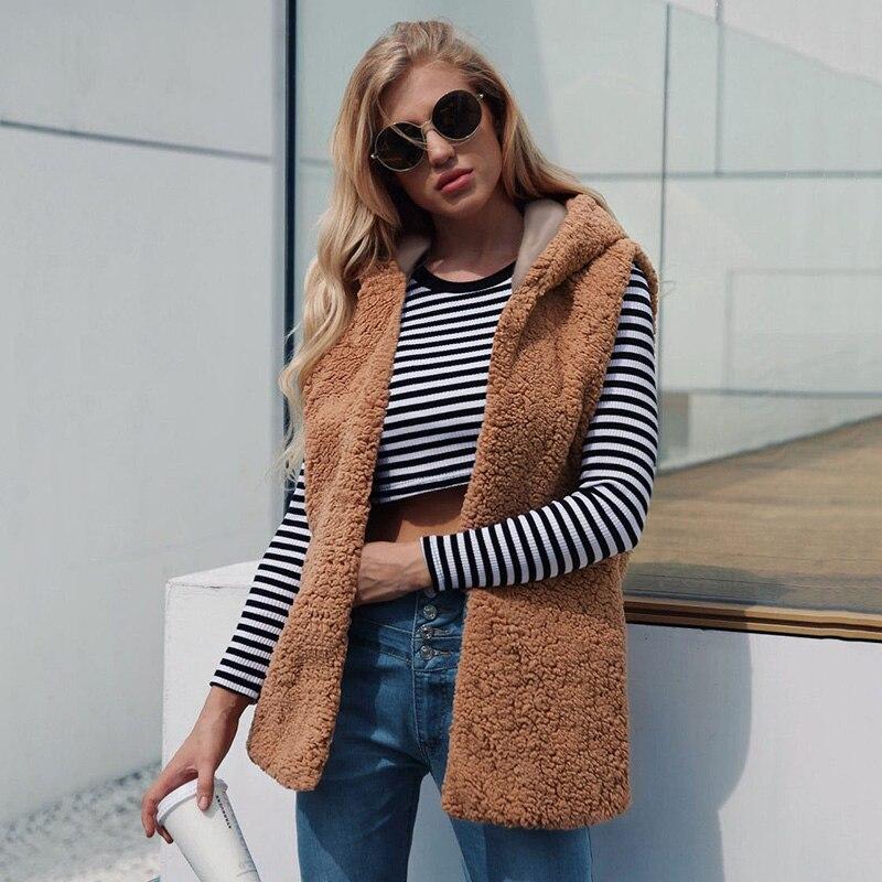 2019 Winter New Women Faux Fur Waistcoat Vest Hooded Sleeveless Furry Gilet Outwear Fluffy Fur Jackets Female Warm Overcoat