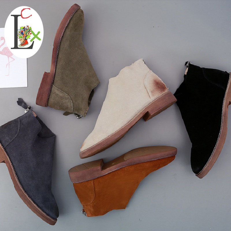 ФОТО LCX shoes woman winter boots Genuine leather Women Shoes  England ankle boots  Retro Flat shoes spring  autumn 5 colors 8610