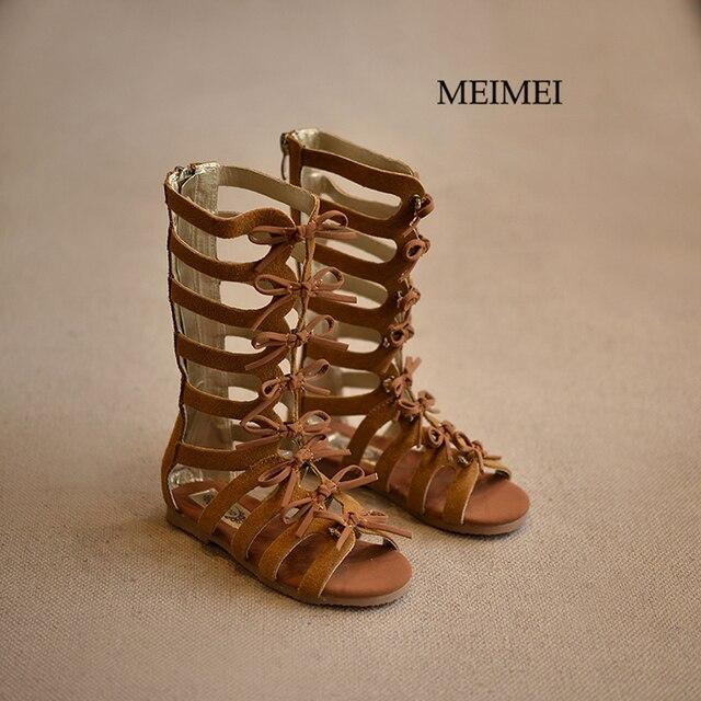 Детская обувь Летние сапоги Высокого верха моды Римские девушки сандалии босоножки сандалии ребенка малыша сандалии Бренд высокого качества