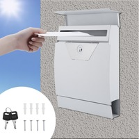 White Modern Curved Surface Security Lockable Wall Mounted Secure Post Box Mailbox Garden Newspaper Letter Mail Box