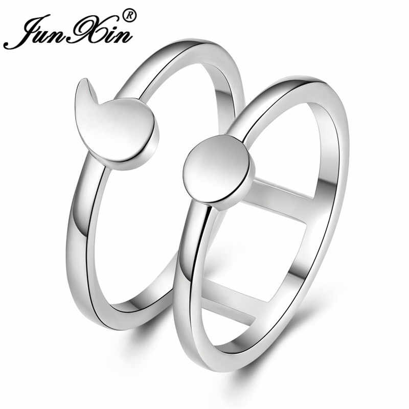 JUNXIN Minimalist Female Male Geometric Semicolon Ring 925 Silver Color Double Layers Wedding Rings For Women Men Hollow Jewelry