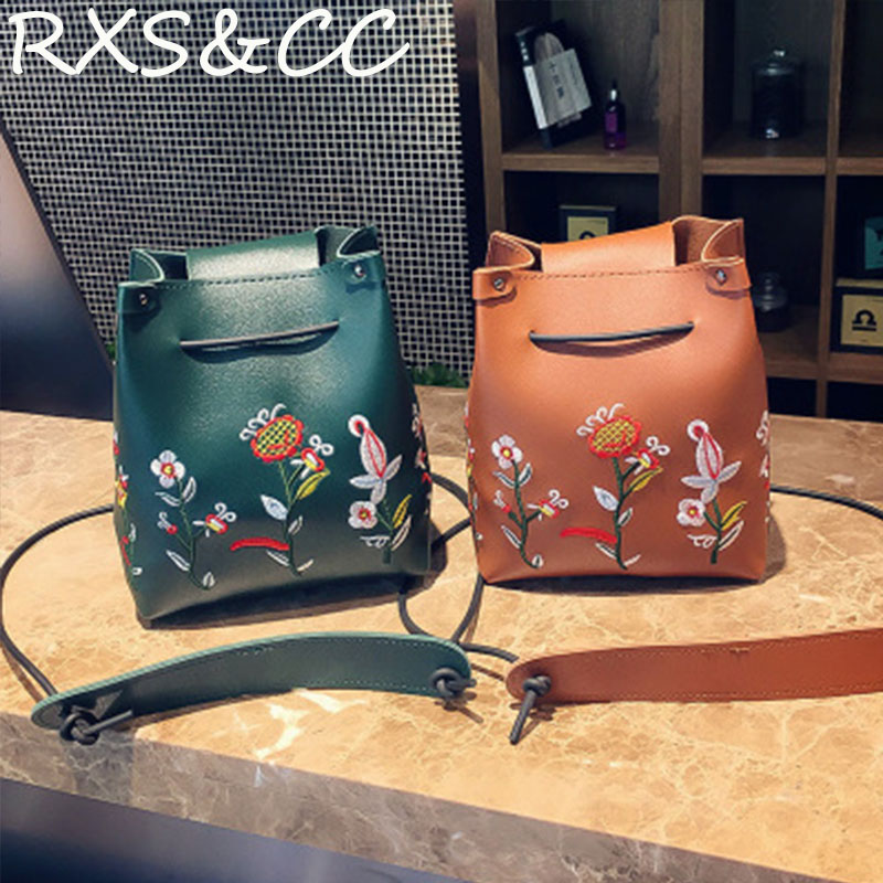 Rxs&cc 2018 fashion handbags new embroidery Messenger bag casual wild motorcycle style shoulder bag shopping beach bag