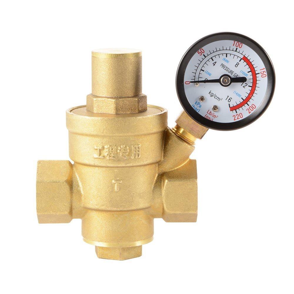 Water Pressure Regulator Brass Lead-free Adjustable 1/2