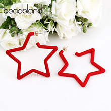 Beadsland Acetic Acrylic Hoop Earrings Star Shape Candy Color Fashion Casual Woman Girl Party Festival Hot Sell Gift 40282
