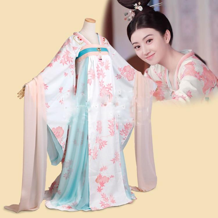 Jing Tian Print Chiffon Princess Costume Hanfu Of Tang Dynasty High Waist RuQun For New TV Play The Glory Of Tang Dynasty