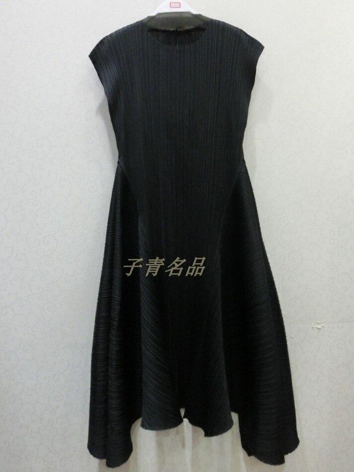 Miyake fold nouvelle technologie haut de gamme des deux côtés de la robe à balancier large épissé en sergé livraison gratuite