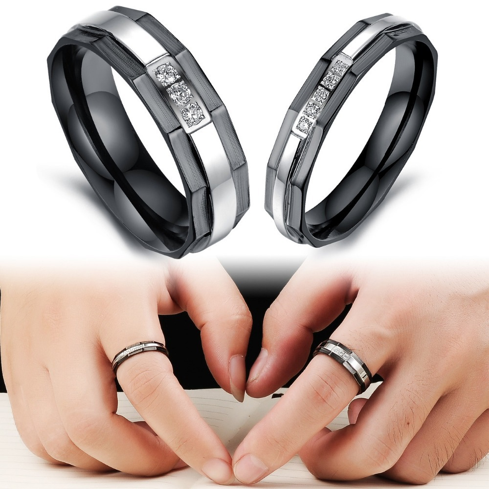 trustylan one piece price new his and hers promise ring sets fashion black wedding rings for men and women stainless steel ring in rings from jewelry - Stainless Steel Wedding Ring Sets