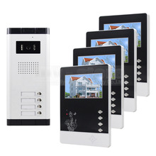 DIYSECUR Quality 4.3″ 4-Wired Apartment Video Door Phone Audio Visual Intercom Entry System IR Camera for 4 Families