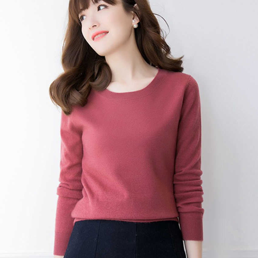 Hot Sale Women Sweater 2019 Spring New 12Colors 100% Pure Cashmere Knitwear High Quality Oneck Pullover Female Standard Clothes