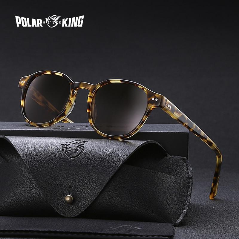 Polarking marca vintage designer polarizado óculos de sol para homem viajar unissex acetato redondo óculos de condução oculos