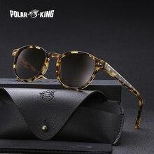 POLARKING Brand Vintage Designer Polarized Sunglasses For Men Traveling Unisex Acetate Round Sun Glasses Driving Eyewear Oculos