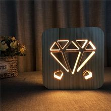Diamond Wooden Decorative Lighting USB Power 3D Night Light Table Desk Lamp Child Beedroom Decor Nightlight LED Gift IY801101 недорого