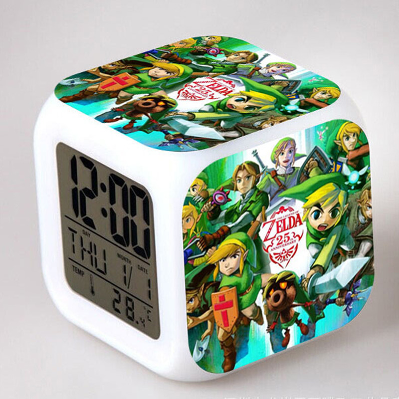 Zelda Anime Figma Alarm Clock LED Colorful Flash Touch Light PVC model Boys Toys Party Supplier best girl toys 2017