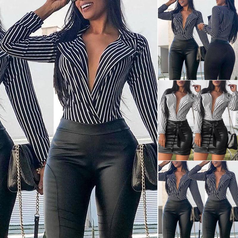 Larga De Casual Las blanco Mujeres V Del Nuevo Suelta Camisa Tops Negro 2018 Estilo Manga cuello Verano Moda Profundo Señoras Blusa wCp4EOfqO