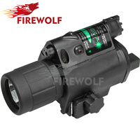 FIRE WOLF Hunting Optics Tactical LED Pistol Flashlight Green Laser Combo Handgun Sight 200 Lumens Weapon