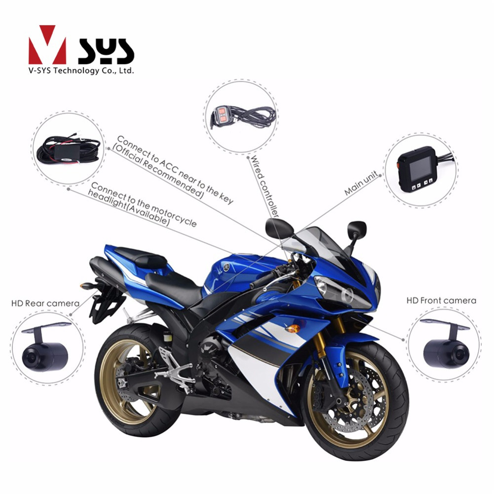 SYS Full HD Front 1080P & Rear 720P Lens M6 WiFi Motorcycle Camera Dash Cam DVR Action Camara Moto Video Recorder GPS цена