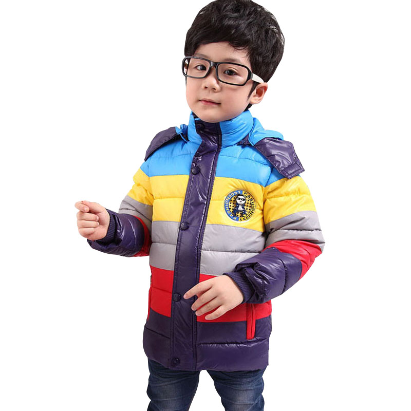 Jacket Down Boys Kids Winter Cotton Striped Coat New-Year