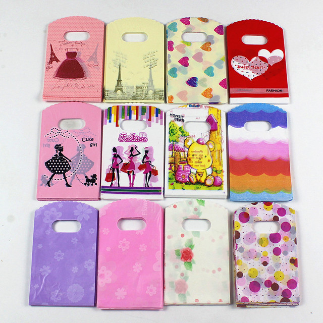 2018 Novo Design Atacado 50 pçs/lote 9*15 cm Alta Qualidade Pequeno Presente Sacos de Embalagem de Sacos De Plástico de Presente