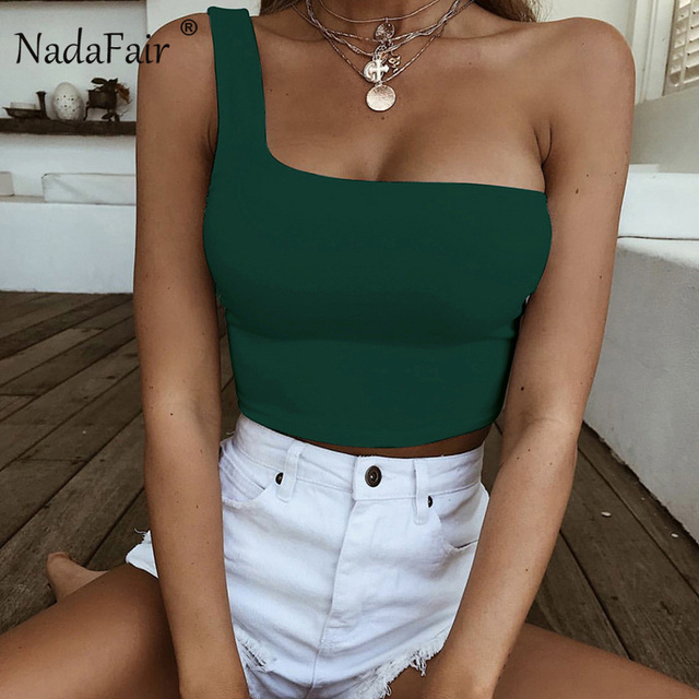 8c6f7cd3429e Nadafair One Shoulder Sexy Backless Wrap Crop Top Women Sleeveless Casual  Streetwear Summer Tank Tops Red Green Black